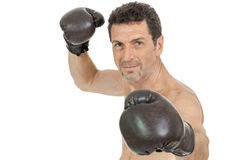 Adult smiling man boxing sport gloves boxer isolated Stock Photo