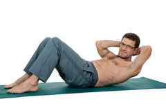 Adult smiling man doing workout sport fitness isolated on white Stock Photography