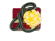 Adult snake with his tongue hanging out is on the red gift box with a yellow bow Stock Photo