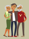 Adult son with his aged parents Stock Image