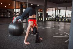 Adult sportswoman training with ball royalty free stock photography