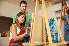 Adult student in an art school Stock Photo