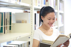 Adult student reading in libray Stock Photography