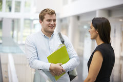 Adult student and teacher talking in university foyer royalty free stock photo