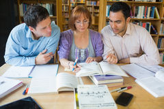 Adult students studying together in the library Royalty Free Stock Photo