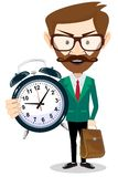 Adult teacher with an alarm clock, vector Stock Photos