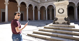 Adult Tourist Visiting Palace Royalty Free Stock Image