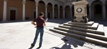Adult Tourist Visiting Palace Stock Photos