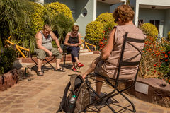 Adult tourists resting in the sun Stock Photo