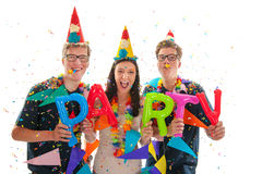 Adult twins and girl having party Royalty Free Stock Images