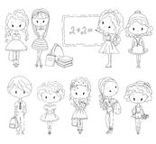 Adult Vector Coloring book pupil. School children. Girls and boy. Schoolgirl Schoolboy. Vector Coloring book pupil. Adult coloring school children. Girls and Royalty Free Stock Image