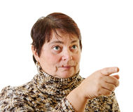 Adult woman. Adult woman to point out with finger Royalty Free Stock Image