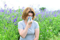 Adult woman with allergies on the Meadow Stock Images