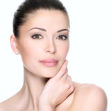 Adult woman with beautiful face. Isolated on white. Skin care concept Royalty Free Stock Photos