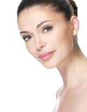 Adult woman with beautiful face. Isolated on white. Skin care concept Royalty Free Stock Photo