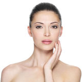 Adult woman with beautiful face. Isolated on white. Skin care concept Royalty Free Stock Image