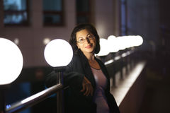 The adult woman in a black jacket Stock Images