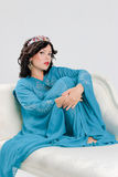 Adult woman in blue abaya Royalty Free Stock Image