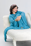 Adult woman in blue abaya Stock Photos