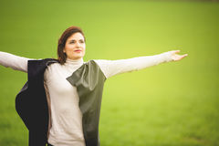 Adult woman breathing in a spiritual way. Royalty Free Stock Photography