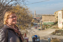 Adult woman in the Cavusin village Royalty Free Stock Photography