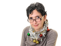 Adult woman on Christmas portrait Royalty Free Stock Images
