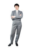 Adult Woman Dressed In Gray Suit Royalty Free Stock Image