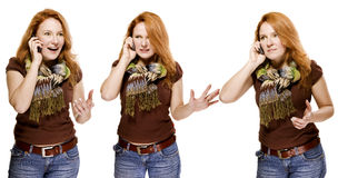 Adult woman emotionally speaking the mobile stock photography