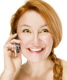 Adult Woman Emotionally Talking On Phone Royalty Free Stock Photography