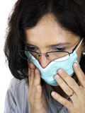 Adult woman with flu mask Stock Images