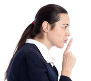 Adult woman giving the shhh. Be quit sign. Stock Images