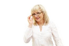 Adult woman in glasses laughing Stock Photos