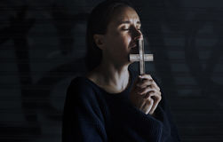 Adult Woman Hands Holding Cross Praying for God Religion Stock Images