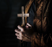 Adult Woman Hands Holding Cross Praying for God Religion Stock Photos