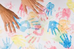 Adult woman hands painting Stock Images