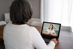 Free Adult  Woman Having Video Chat Online On Laptop With Her Granddaughter At Home During Quarantine Isolation Pandemic.  Senior Lifes Royalty Free Stock Image - 178370756