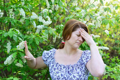 Adult woman with  headache about bird cherry blossoms in spring Royalty Free Stock Images