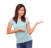 Adult woman holding her palms up royalty free stock photography