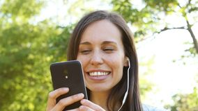 Adult woman listening to music and dancing stock footage