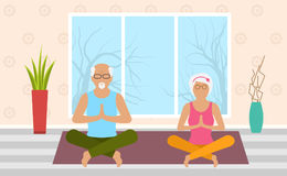Adult Woman and Man Meditating in Pose Lotus, Home Interior. Leisure of Pensioners. Vector Royalty Free Stock Image
