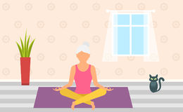 Adult Woman Meditating in Pose Lotus, Home Interior. Leisure of Pensioner. Illustration Royalty Free Stock Photography