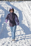 Adult Woman Out For A Winter Walk Stock Photography