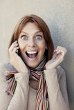 Adult woman on the phone Royalty Free Stock Photo