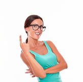 Adult woman pointing at copy space Stock Photos