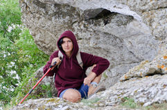 Adult woman posing in mountains Stock Photo