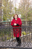 Adult woman in red coat standing on the bridge in the park Stock Photos