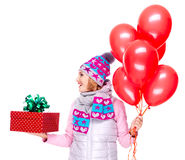 Adult woman with red gift box and balloons looking side Stock Images