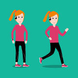 Adult woman running for exercise fitness  Stock Photos