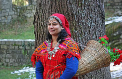 Adult Woman in Traditional Dress of Kullu Valley Stock Images