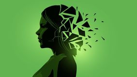 Adult Women With A fractured Mind stock illustration